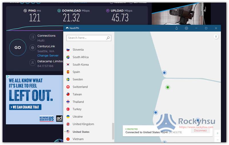 NordVPN 美國伺服器速度實測