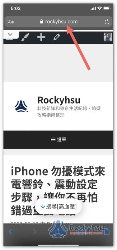 iPhone Safari 網址列