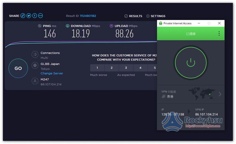 Private Internet Access 香港速度實測