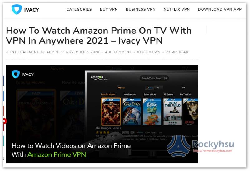 Ivacy Amazon Prime Video