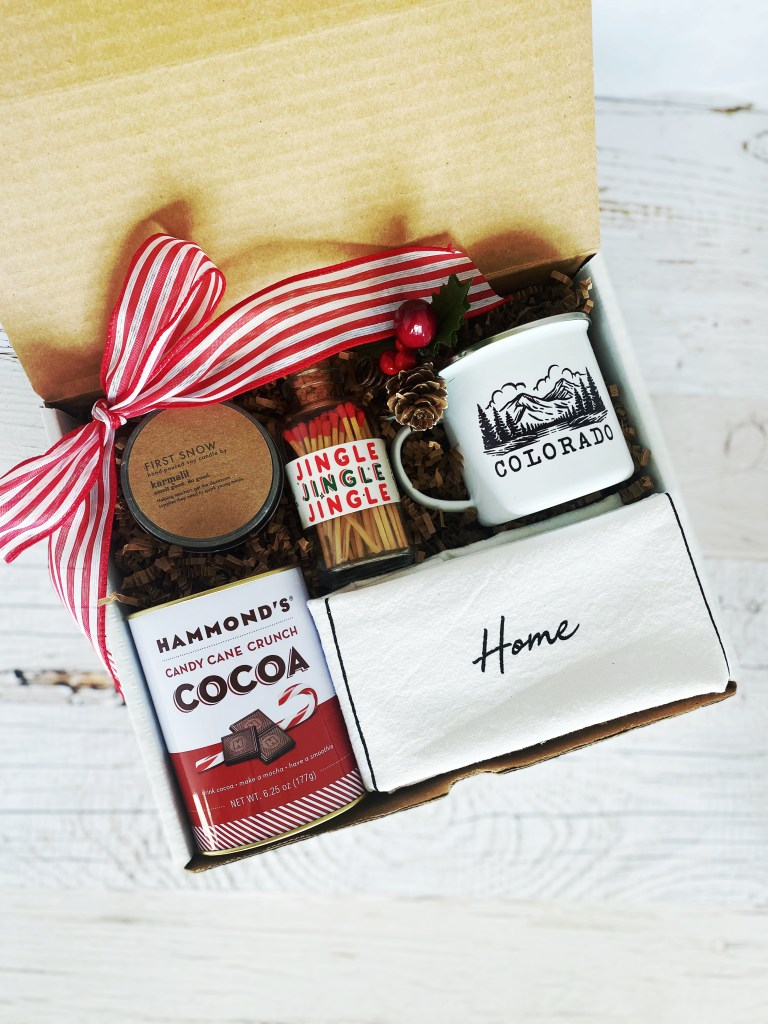 Cozy Gift Co. I'll be Home for Christmas Gift Box with Customizable Campfire Mug that is Handmade in Castle Rock, CO