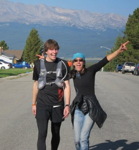 Finish line of Leadville with Marcy.  She paced me through the most puking I've ever done.