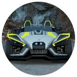 silver and lime polaris slingshot