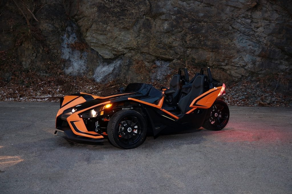 orange and black polaris slingshot