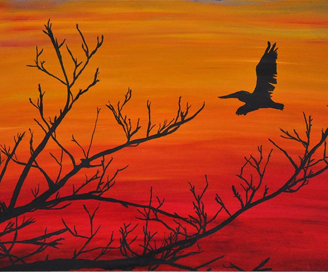 Pelican sunset Sarasota swamp Oil Painting Silhouette