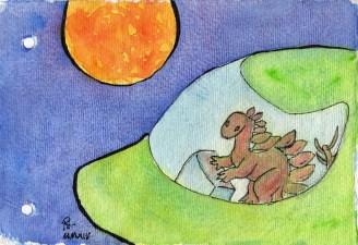 Stegosaurus approaches