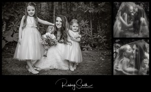 bride, flower girls, black and white, wedding day, Crosnore Presbyterian Church