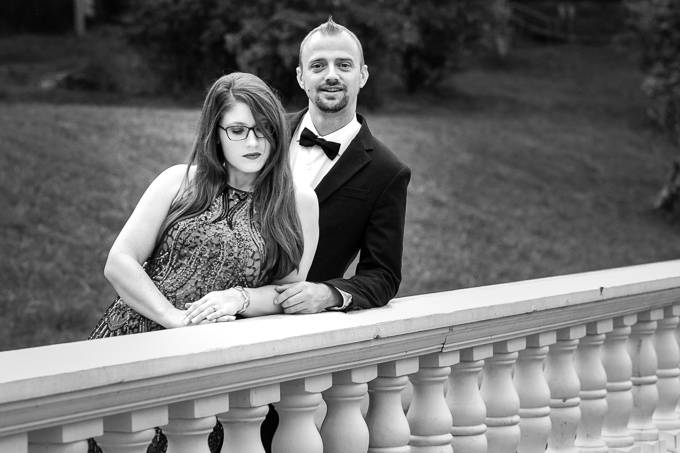 engagement couple black and white