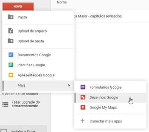 Se você possui uma conta do Google, você tem um Google Drive. Caso não tenha, é fácil fazer uma conta. Acesse drive.google.com, clique no botão Novo, vá até Mais e escolha Desenhos Google.