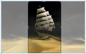 Pequenas bordas pretas aparecerão ao redor da imagem. Arraste-as até que se equiparem à largura do documento.