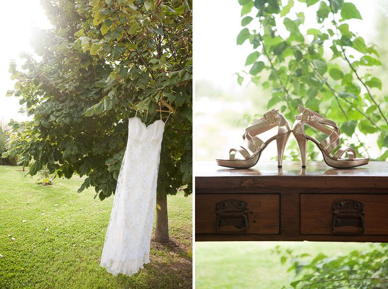 Vestido y zapatos de la novia