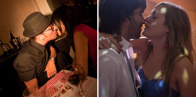 Besos y amor en el casamiento