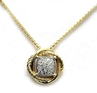 David Yurman 18K Yellow Gold and 7mm Pave Diamond Infinity Pendant Necklace