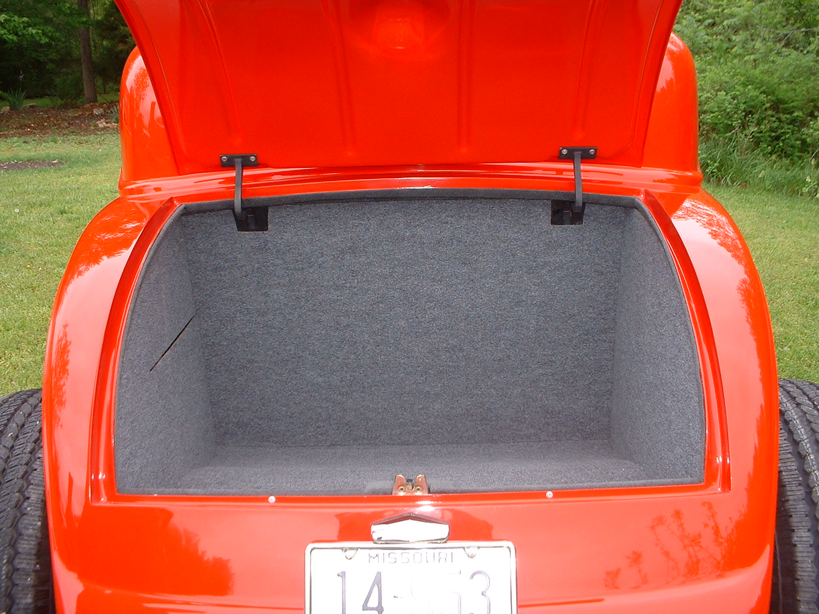 RodworksLLC Red 1932 Ford Coupe W Grey Tweed Interior