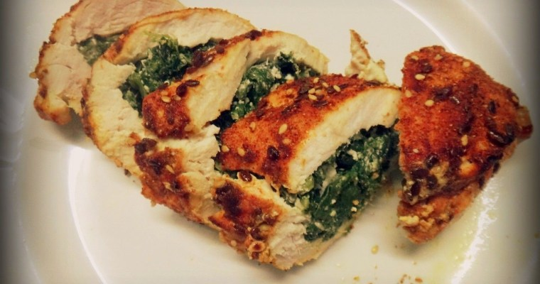 Rolled chicken breast with spinach