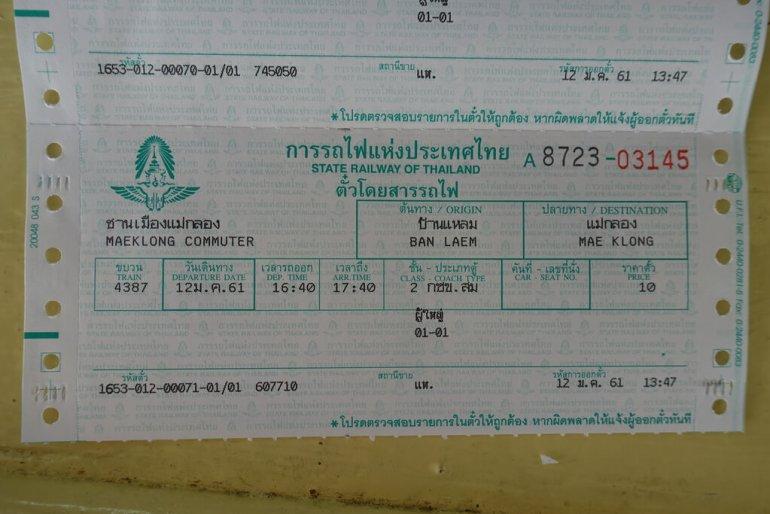 Bilet do Maeklong z Ban Laem