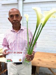 Raj with prizewinning Lilies