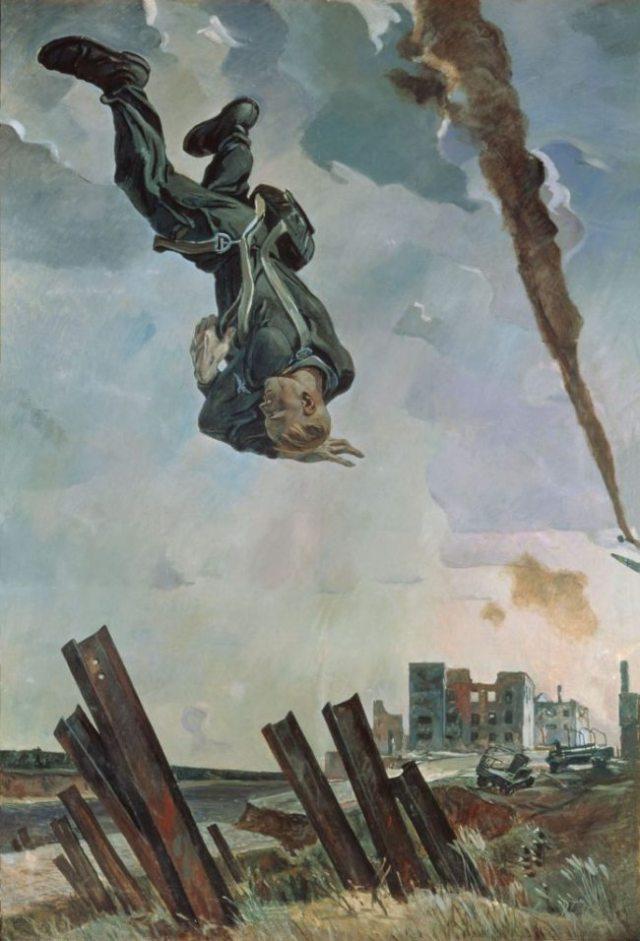 The Knocked Down Ace deur Alexander Deineka (1943)