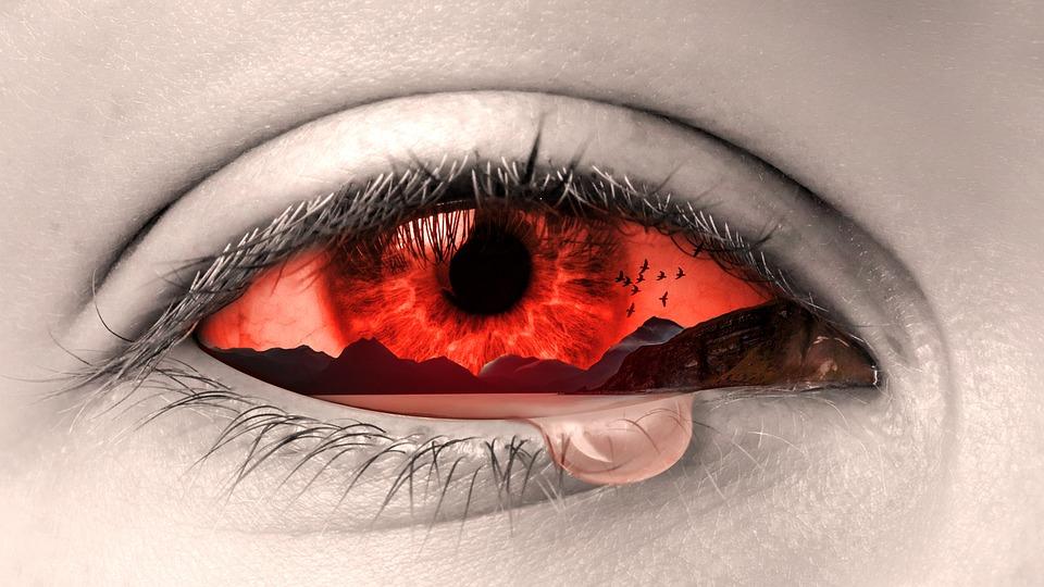 oog-traan-trane-hartseer-huil-rooi