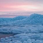 drift ice blue hour sunset
