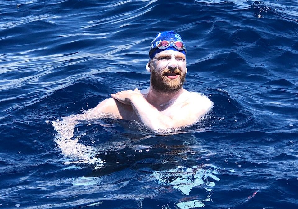 Cameron Bellamy Barbados-Saint Lucia Channel Swim Completed