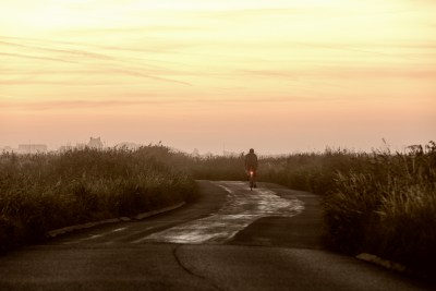 I loved the understated tones in this image of dawn ride across the marsh near Pevensey