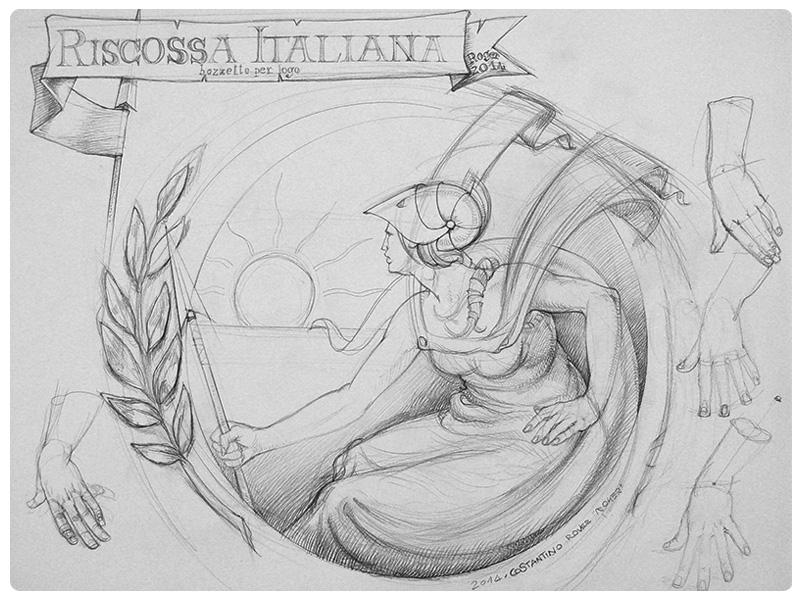 Bozzetto completo logo riscossa italiana