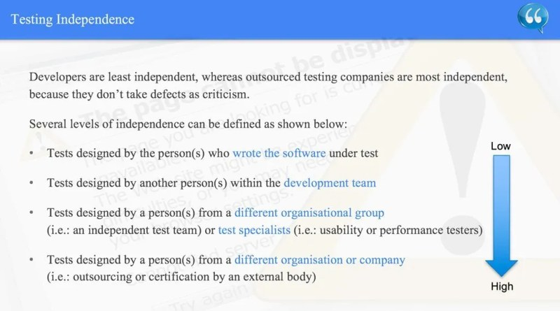 Testing Independence - ISTQB