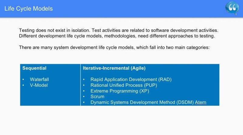 Life Cycle Models Two Main Categories - Software Testing