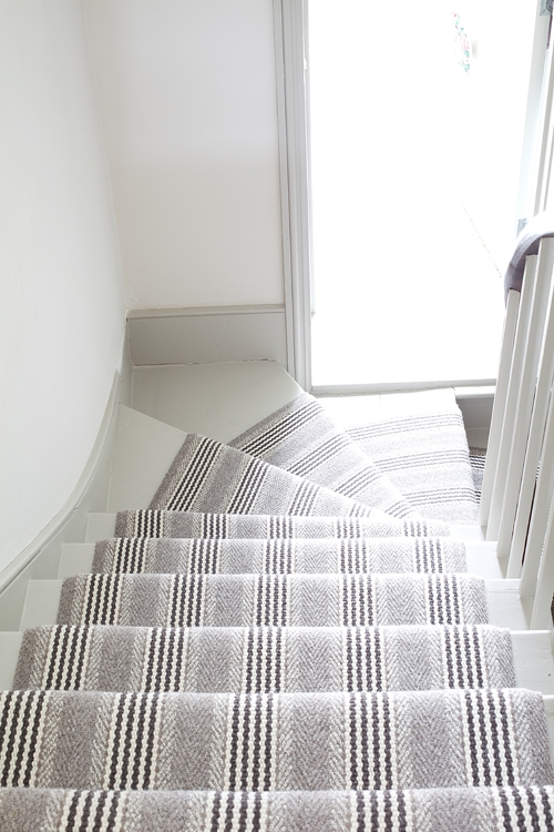 Interior Designers Love Roger Oates Runners Roger Oates Blog | Grey Patterned Stair Carpet | Teal | Black | Farmhouse Style | Stair Landing | Wall