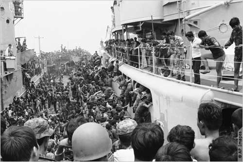 S.  Vietnamese in Da Nang struggle to climb aboard ships that will evacuate them to Cam Ranh Ba