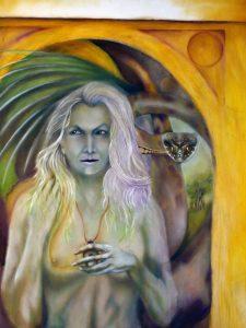 Glain Nadredd, les nadredds serpents, The White People,, Great God Pan, Arthur Machen, Serpent Stone, Celtic mythology, oil painting