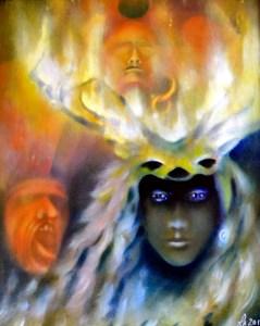 Herne celtic mythology, cernunnos, fine art symbolic painting