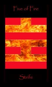 Five of Fire Five of Wands tarot card.