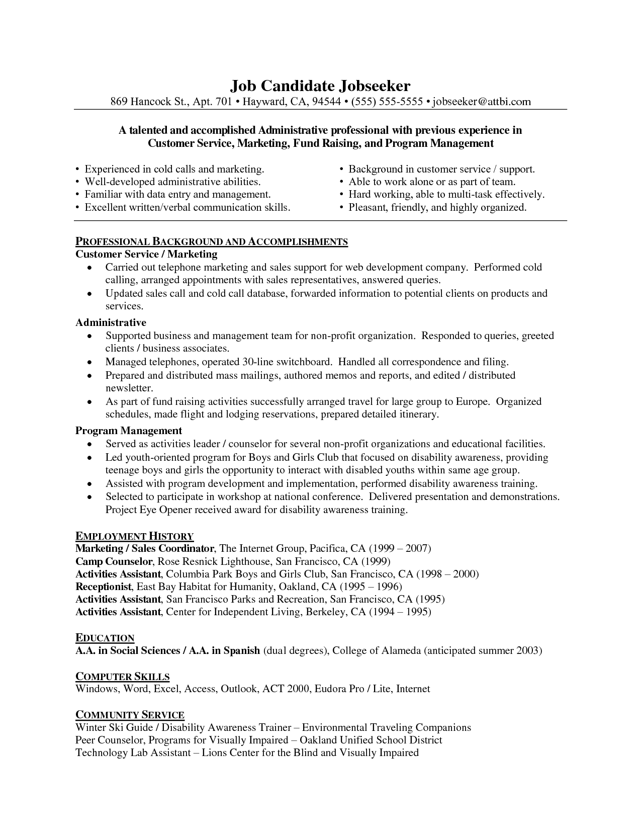 Write A Good Resume Objective Statement Free Sample Resume Cover  Customer Service Resume Objectives