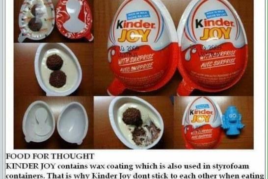 Kinder Joy wax coating causes cancer?