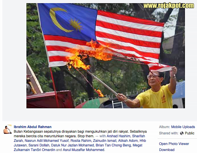 Director-General of the Department of Information, Ibrahim Abdul Rahman accuses Bersih of burning the Malaysian flag