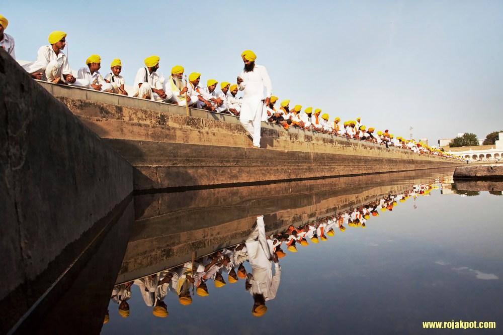 Young Sikh men during a turban awareness march. Jaitu, April 2013.