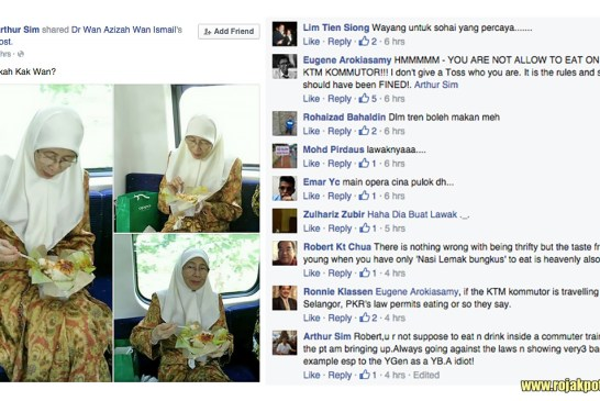 Wan Azizah Caught Eating On The KTM Komuter? - UPDATED!