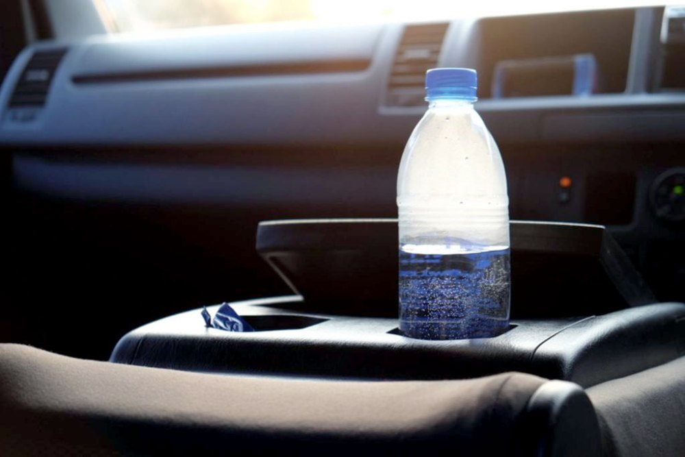 Bottled water in the car