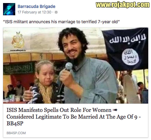 Facebook - ISIS jihadist married 7 year old girl
