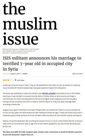 The Muslim Issue - ISIS jihadist married 7 year old girl