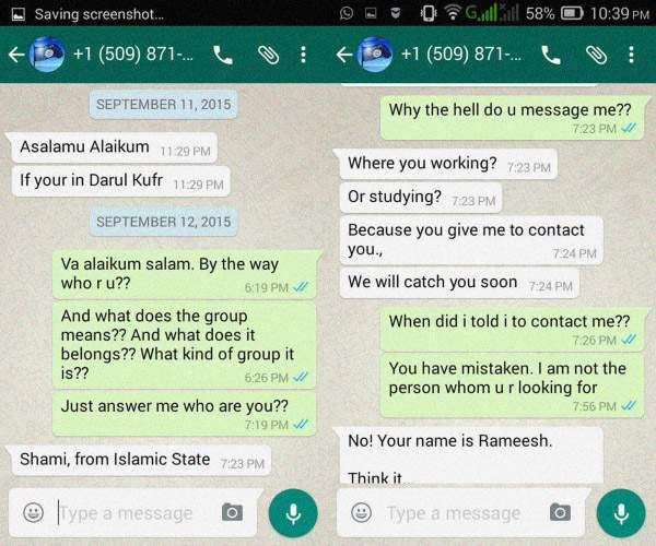 ISIS WhatsApp invitatoin to Dawlathul Islam Dwah