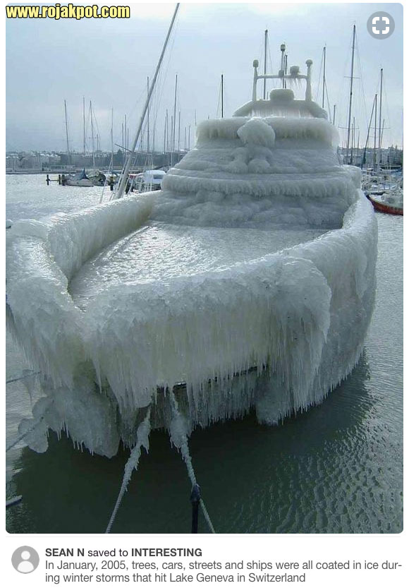 Frozen boat on Lake Geneva 2005
