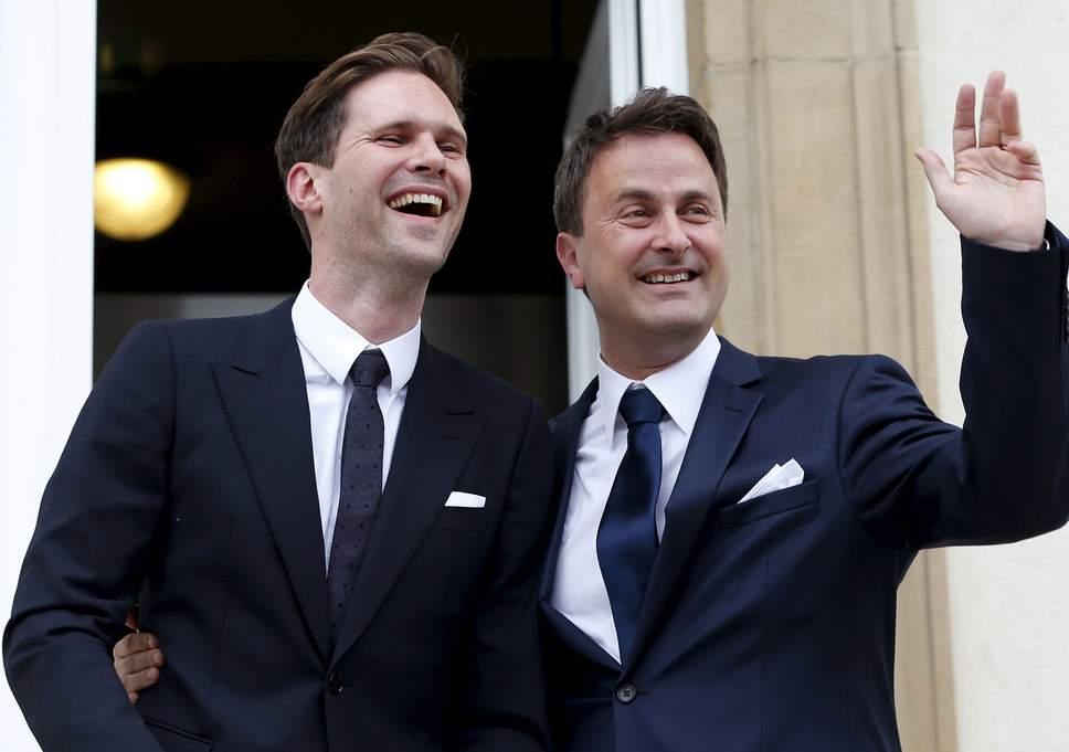 Luxembourg Prime Minister Xavier Bettel and partner Gauthier Destenay