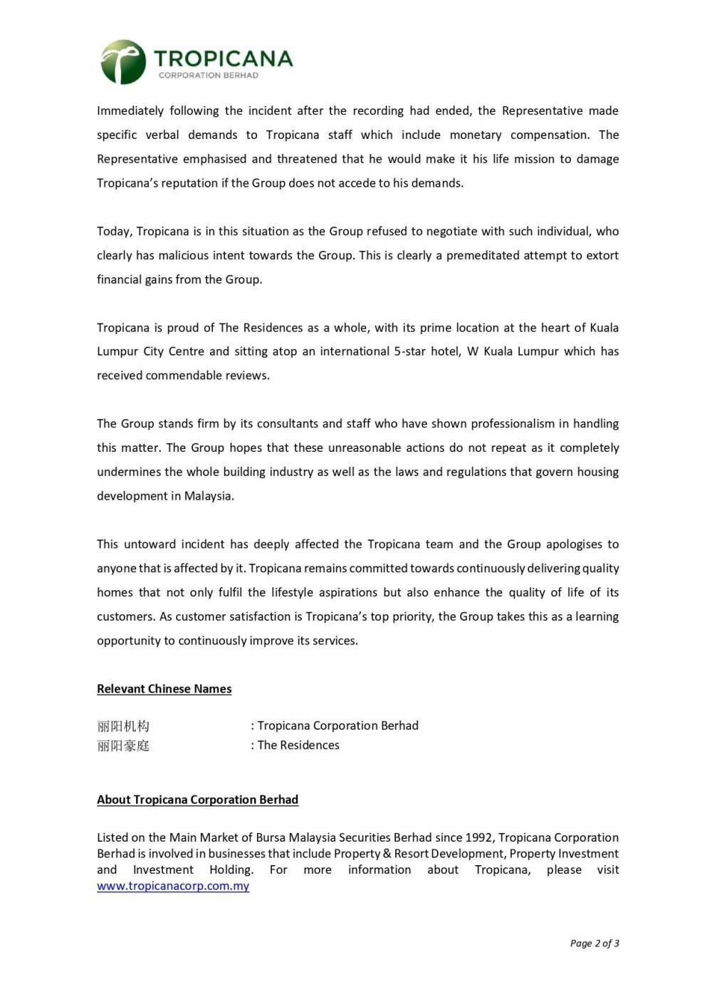 Tropicana press release on the controversy