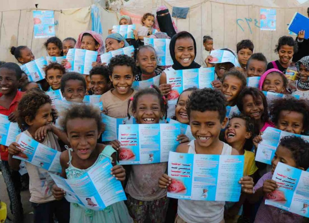 Yemenese children vaccinated against measles and rubella