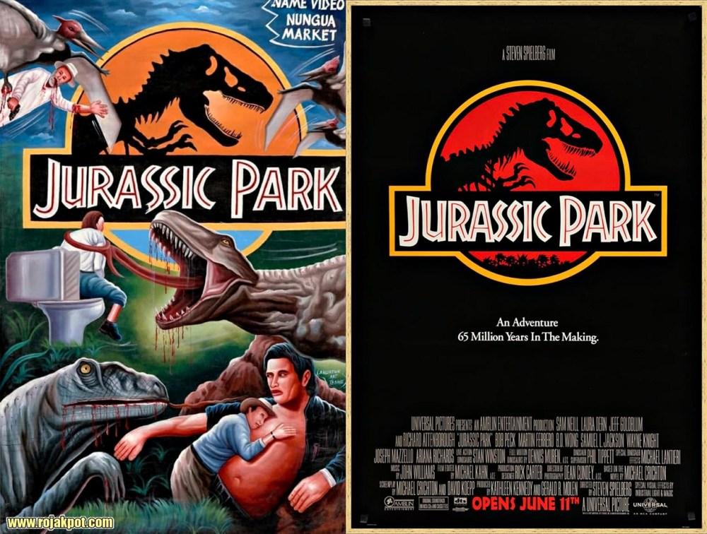 Jurassic Park - Ghana movie poster compared