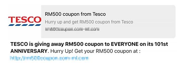 Tesco 101st Anniversary Scam on WhatsApp