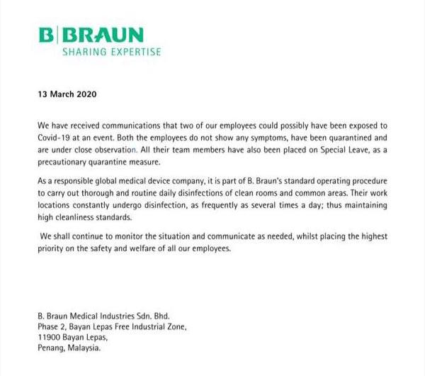 Braun COVID-19 statement